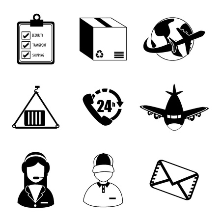 conveyor icons over white background  Vector