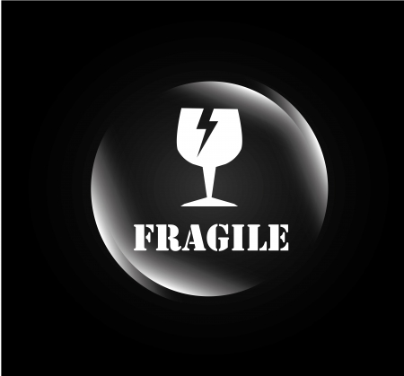 good break: fr�gil burbuja sobre fondo negro