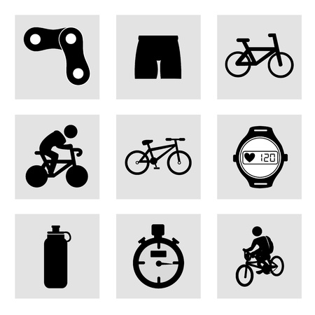 cycling icons over white background  Vector