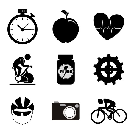 spinning icons over white background