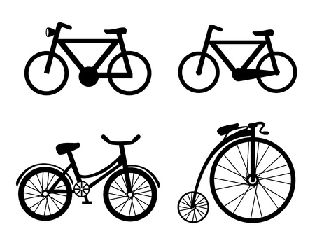 decades: bicycle icons over white background