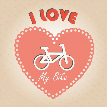 i love my bike over lineal background  Vector