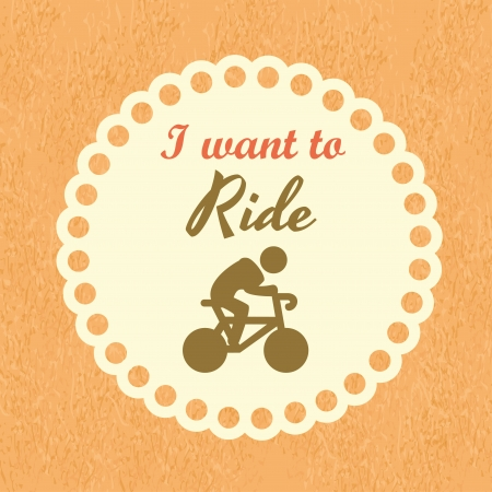 i want to ride over cream background  Vector