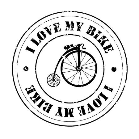 i love my bike over white background