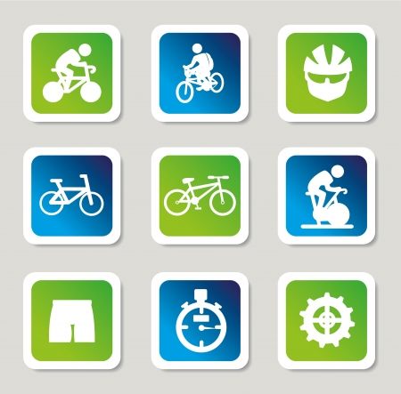 cycling icons over gray background  Vector