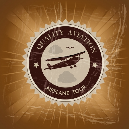 airplane tour over vintage background  Vector
