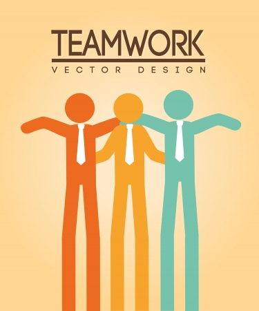 teamwork design over cream background  Vector
