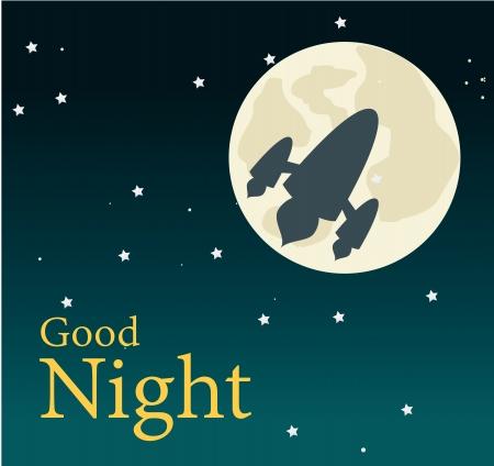 buonanotte: buona notte nel cielo di sfondo Vettoriali