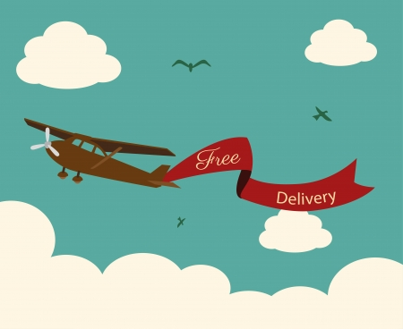 free delivery: airplane design over sky background