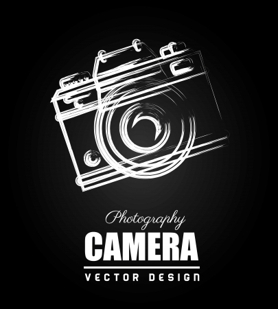camera flash: camera design over black background