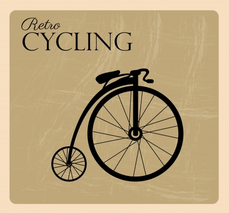 retro fietsen over zwarte achtergrond Vector Illustratie