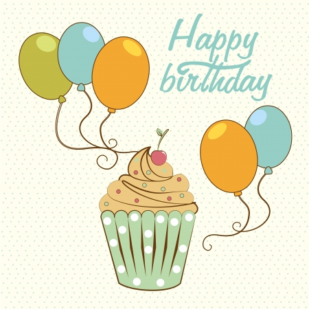 happy birthday design over dotted background Stock Vector - 21287598
