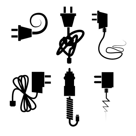 plug electric: power cables over white background