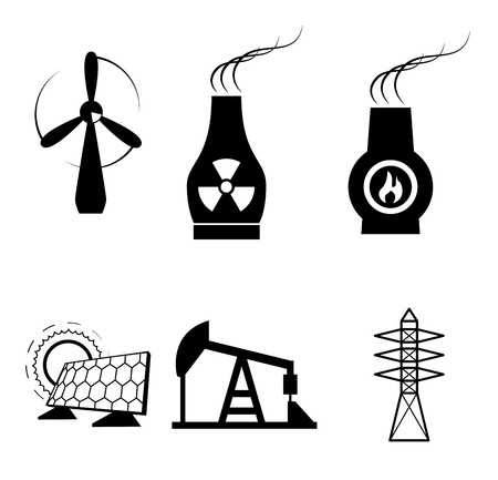energy types over white background  Vector