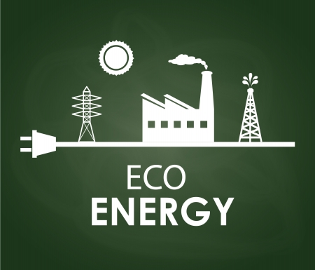 conection: eco energy design over greenboard background  Illustration