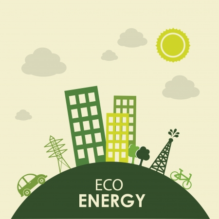 eco energy design over landscape background  Vector