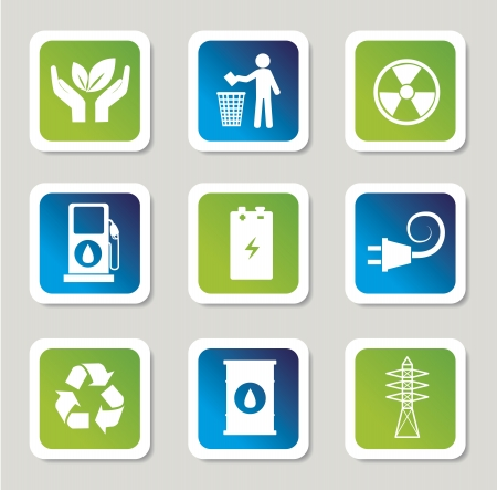 eco energy icons over gray background  Vector