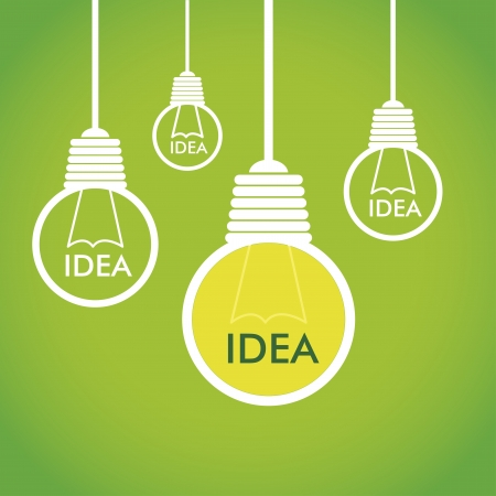green bulb: eco idea over green background