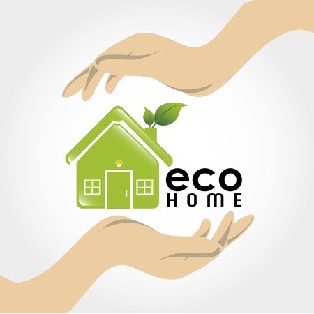 eco home over gray background Stock Vector - 21287621