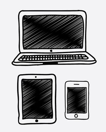 electronic organiser: technology icons over white background vector illustration