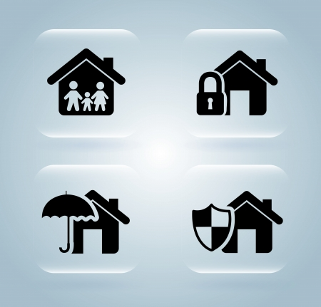 home protection: insurance icons over blue background vector illustration  Illustration