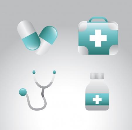 Icônes médicales sur fond gris illustration vectorielle Banque d'images - 21327568