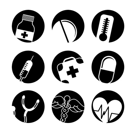 medical buttons over white background vector illustration  Vector