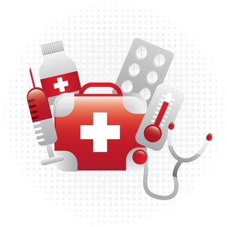 Conception de la médecine sur fond blanc illustration vectorielle Banque d'images - 21327556
