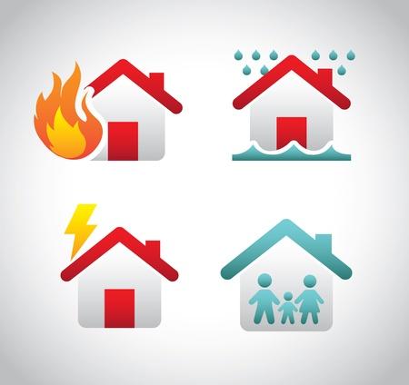 incendio casa: iconos de seguros sobre fondo gris ilustración vectorial Vectores