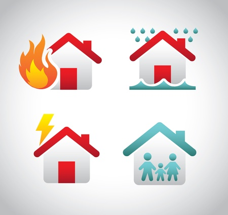 house fire: insurance icons over gray background vector illustration