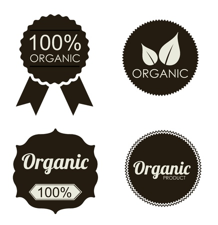 organic stickers over white background vector illustration  Vector