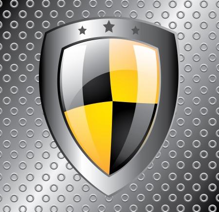 shield design over metal background vector illustration  Illustration