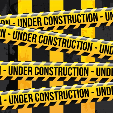 prudence: under construction ribbons over lineal background vector illustration