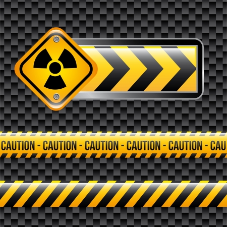 precautions: biohazard signs over black background vector illustration