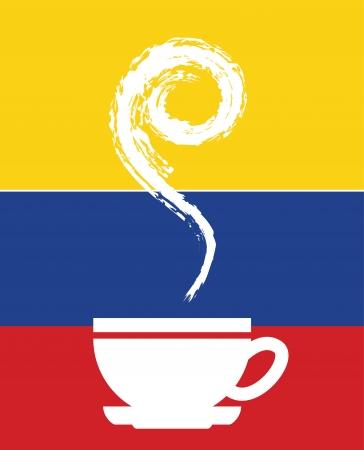 cafe colombiano: dise�o del caf� colombiano sobre fondo bandera ilustraci�n vectorial