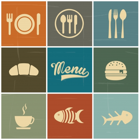 menu tool: menu icons over colorful background vector illustration