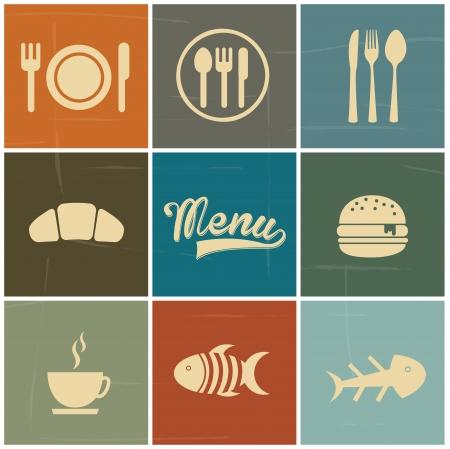 menu: menu icons over colorful background vector illustration
