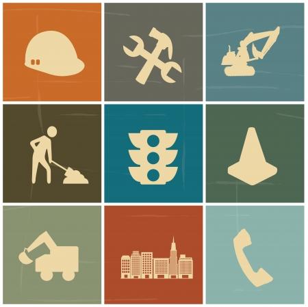 señal de transito: iconos de la construcción más de fondo colorido vector, ilustración Vectores
