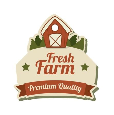 fresh farm label over white background vector illustration Vector