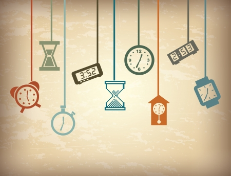 watch movement: time icons over vintage background vector illustration  Illustration