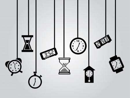 tijd pictogrammen over grijze achtergrond vector illustratie Stock Illustratie