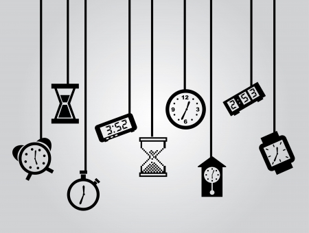 time over: time icons over gray background vector illustration