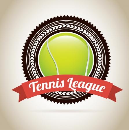 tennis label over beige background vector illustration  Vector