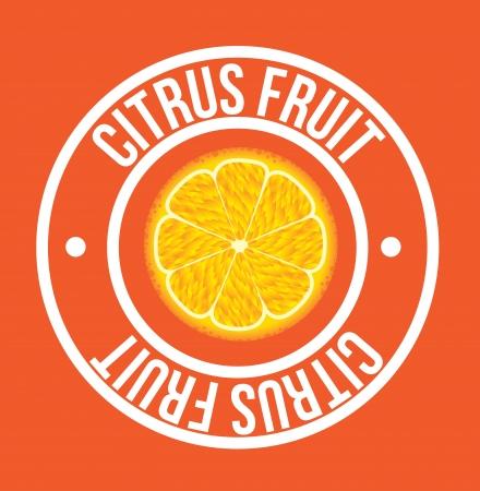 drinkseal: citrus fruit seal over orange background vector illustration Illustration