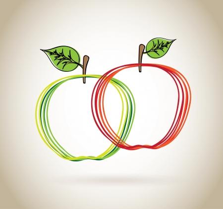 apple design over beige background vector illustration  Vector