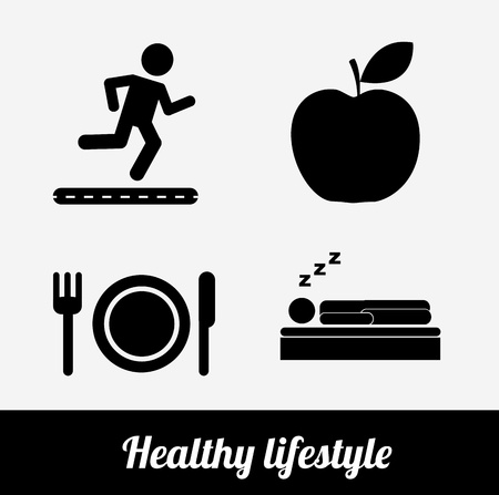 healthy lifestyle over white background vector illustration  Vector