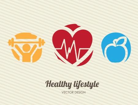 kardio: egészséges életmód mint egyenes ági háttér vektoros illusztráció Illusztráció