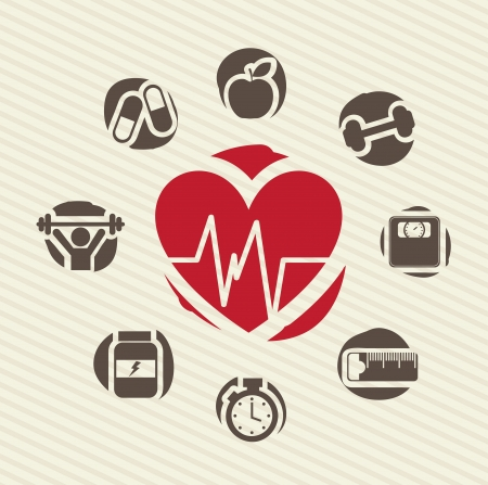healthy icons over lineal background vector illustration