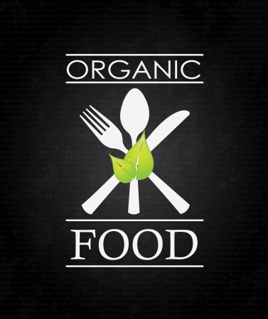 organic food over black background vector illustration  Ilustração