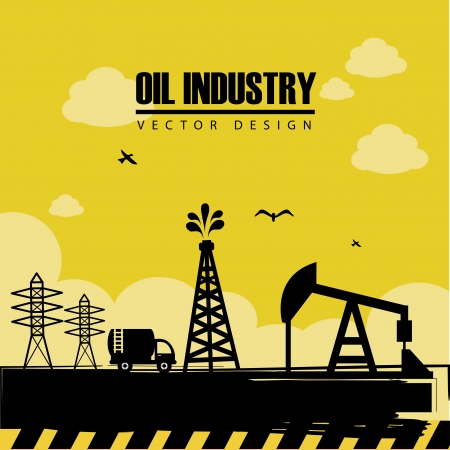 fuel economy: oil industry over landscape background vector illustration